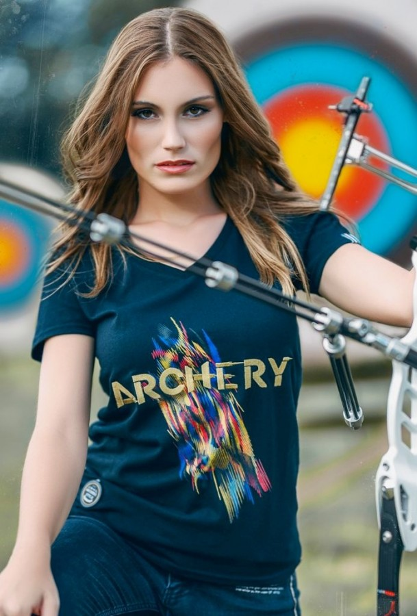 Bogensport Damen T-Shirt Archery ( Schwarz)