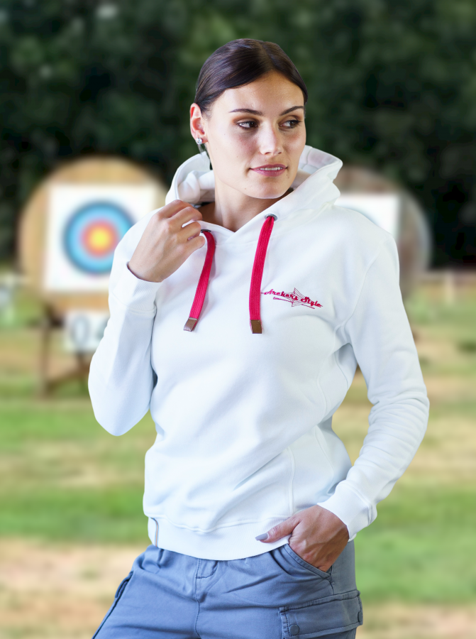Bogensport Damen Hoodie Archers Style (Weiss)